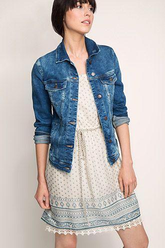 Esprit / Taillierte Jacke aus Stretch-Denim