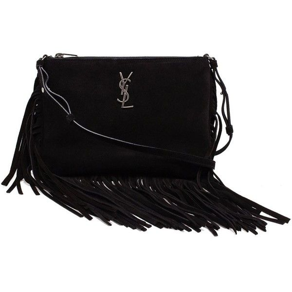Saint Laurent 'Monogram' shoulder bag (2.840 BRL) ❤ liked on Polyvore featuring bags, handbags, shoulder bags, black, yves saint laurent purses, yves saint laurent shoulder bag, shoulder handbags, monogrammed handbags and zipper handbag