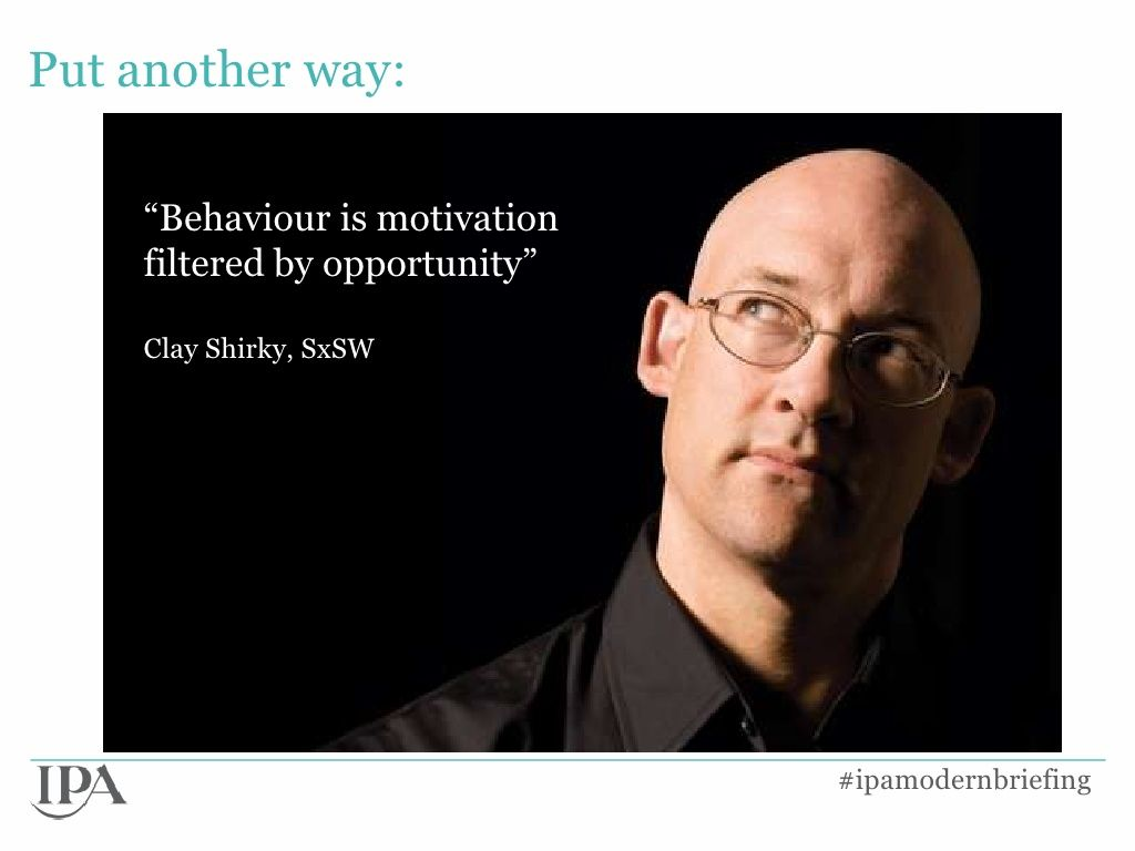 Behaviour is motivation filtered by opportunity.