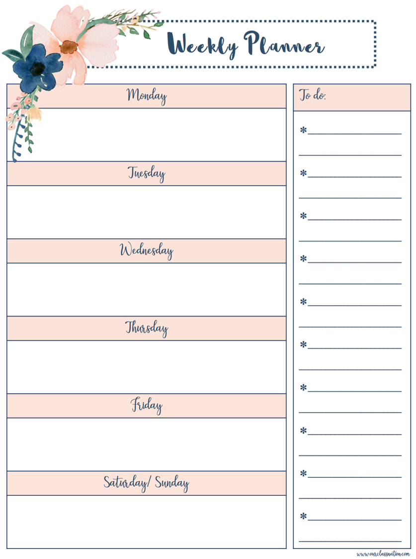 Free Printable Weekly Planner Our Class Nation Journal