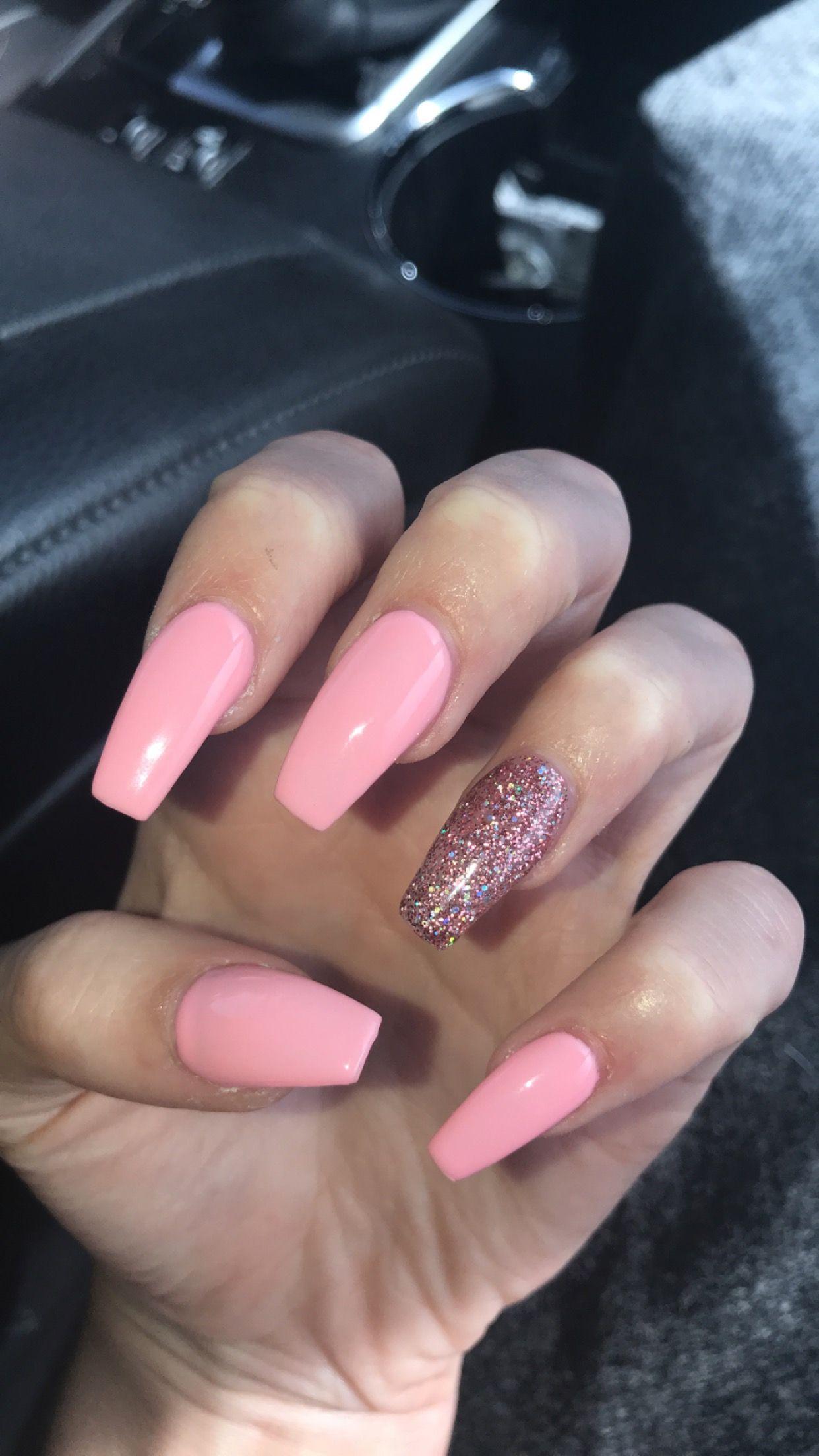 Coffin Shaped Acrylic Nails Pink Acrylic Nails Best Acrylic