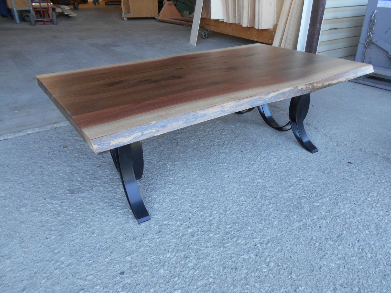Live Edge Walnut Wood Coffee Table Natural 33 X 60 X 18 With A Double Curved