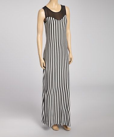 Take a look at this Black & White Stripe Sheer Neckline Dress by Zenana on #zulily today!