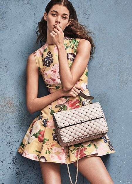 538749aa3cfb Valentino Romantic Flower Dress and Rockstud Spike Large Quilted Leather  Chain Shoulder Bag