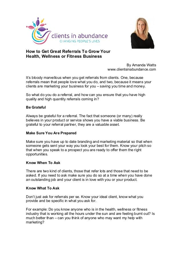 How To Get Great Referrals To Grow Your Health, Wellness Or Fitness Business by Amanda Watts via slideshare #health #wellness #fitness #marketing