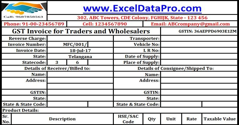 Download GST Invoice Format For Traders And Wholesalers In Excel - invoice bill