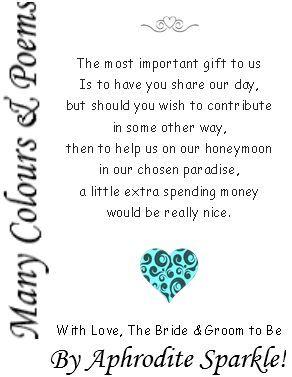 50 Wedding Money Poem Cards Heart Design for invitations ask for
