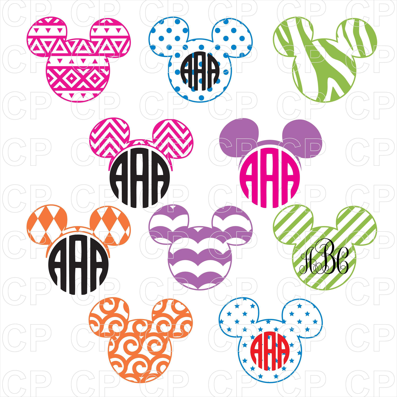 Mickey Mouse Head Monogram Bundle SVGDisney Bundle SVG