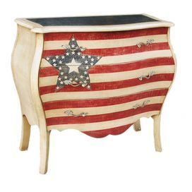 "Three-drawer accent chest.     Product: Accent chest        Construction Material: Wood Color: Red, white and blue    Features:  Three drawersHand-paintedBombe shape         Dimensions: 34"" H x 37"" W x 17"" D                  Note: Assembly required. Hardware included."