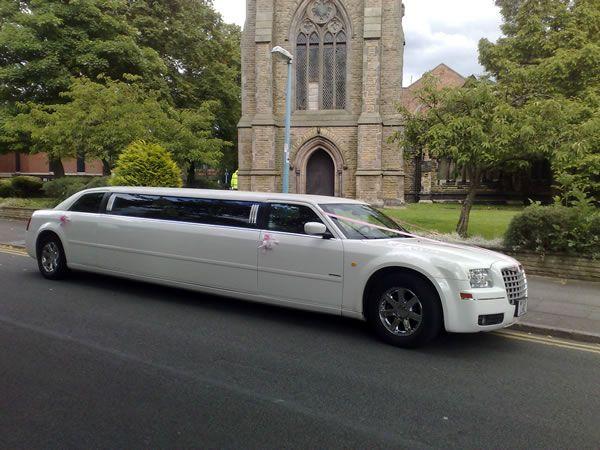 White Chrysler Limo Limo Hire North West Limo Limousine Wedding Limo Service