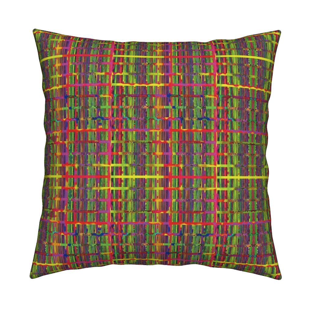 Catalan throw pillow featuring the fun and funny grid plaid green