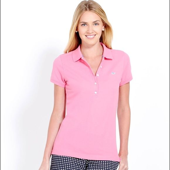 pink short sleeve polo > vineyard vines bubblegum pink polo- navy blue whale emblem on the chest- excellent condition with no rips, stains or missing buttons- happy to provide measurements however I am unable to try on as this is not my size- no trades please Vineyard Vines Tops Button Down Shirts