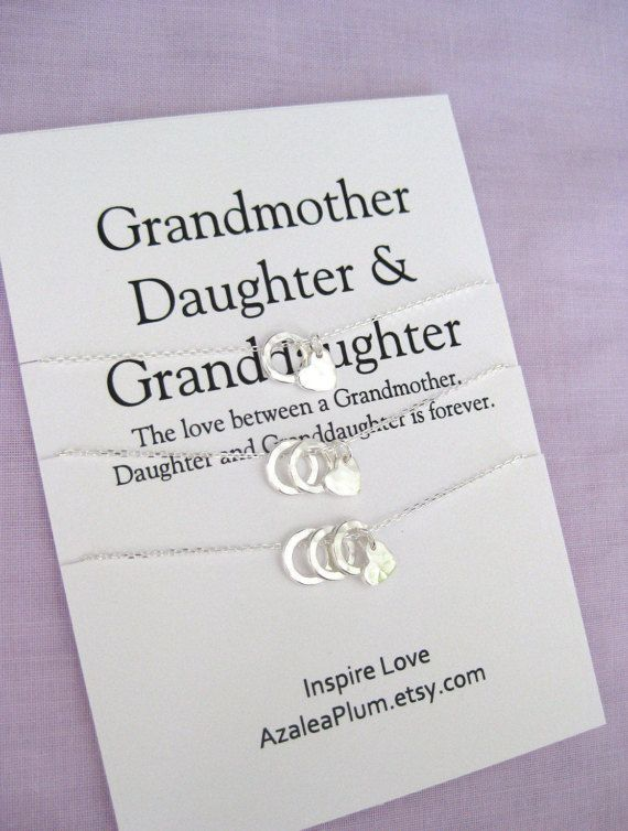 70th BIRTHDAY Gift Generations Necklace GRANDMOTHER Mother Daughter Grandmother Granddaughter Birthday For Mom