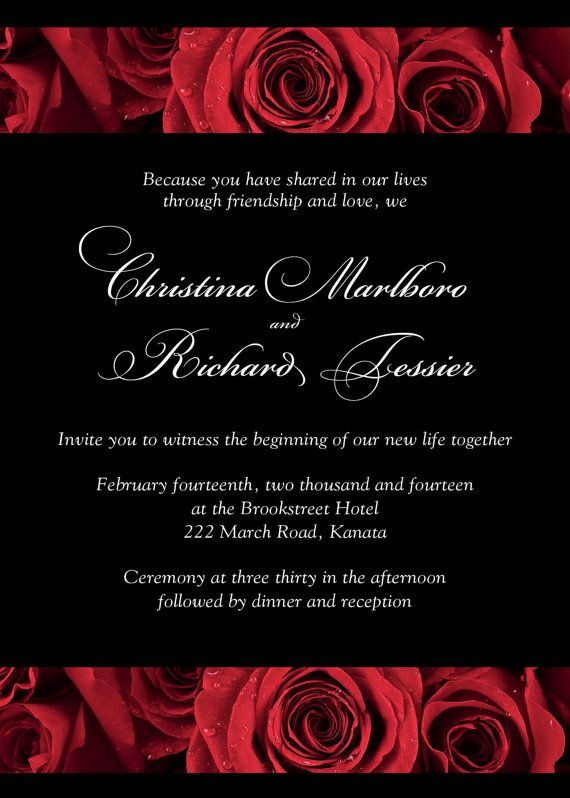 red rose invitations for your wedding deep crimson with black