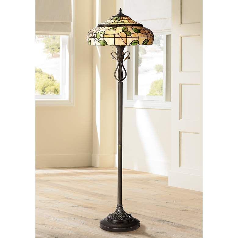 Vivian Green Leaf Tiffany Style Art Glass Floor Lamp 4h952 Lamps Plus In 2020 Glass Floor Lamp Tiffany Style Floor Lamps Floor Lamp Design