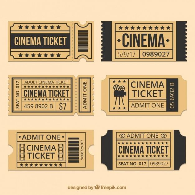 Brown cinema tickets with black details Free Vector | Ticket ...
