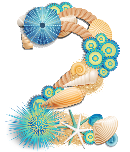 Transparent Number Two Sea Style PNG Clipart Picture