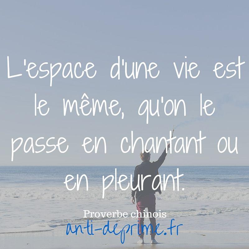 L Espace D Une Vie Est Le Meme Qu On Le Passe En Chantant Ou En Pleurant Proverbes Chinois Citation Citation Francais