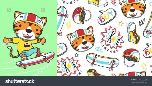 Tiger der Skateboardfahrer mit Skateboard Element nahtlose Muster Vektor
