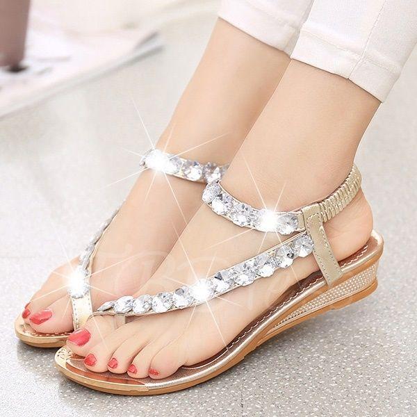 c63b1be28 Toe Thong Rhinestone Elastic Band Plain Women s Sandals Red High Heel Shoes