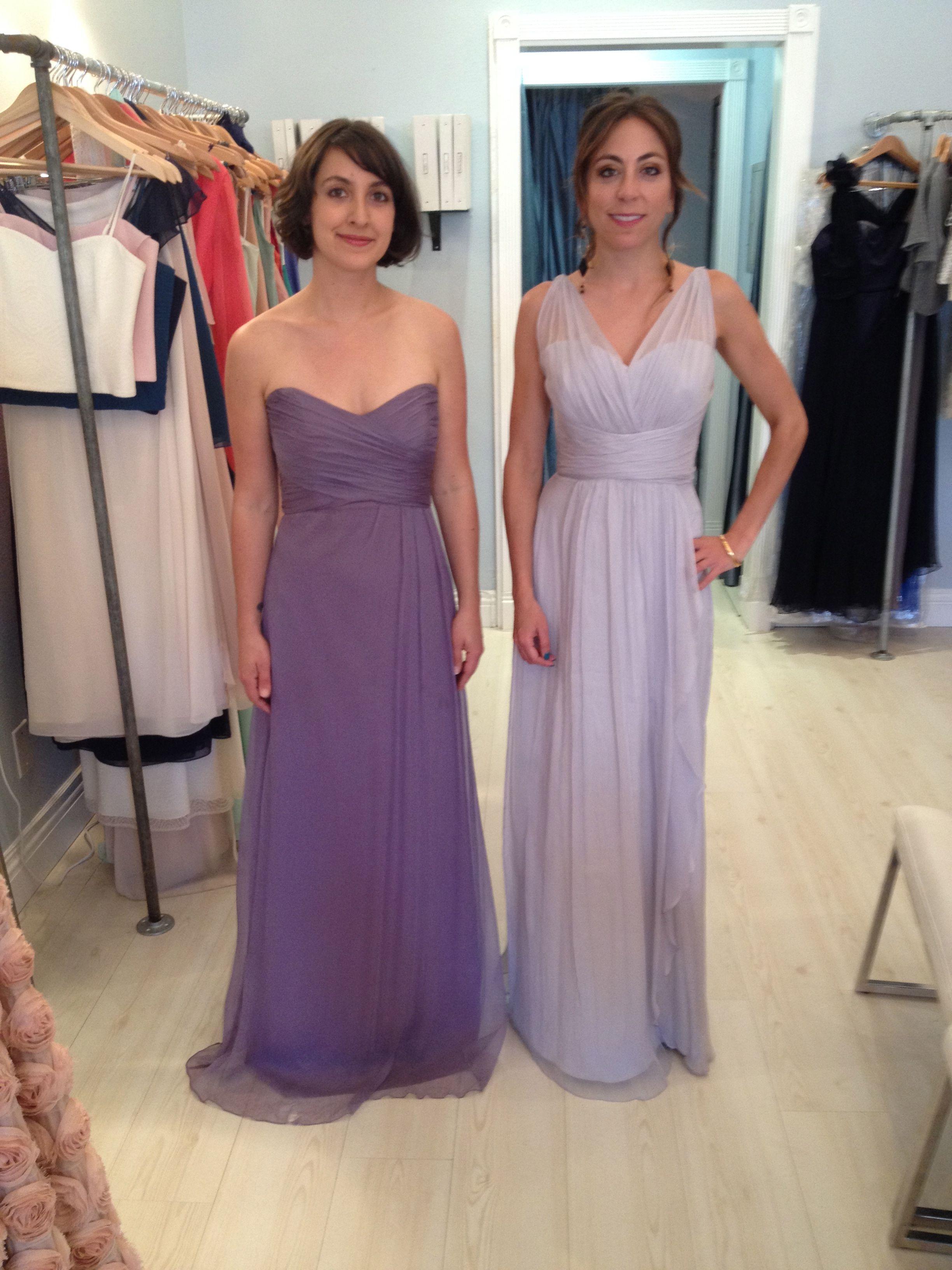 Amsale G629c (left/violet) & Amsale G783c (right/dove) | wedding ...