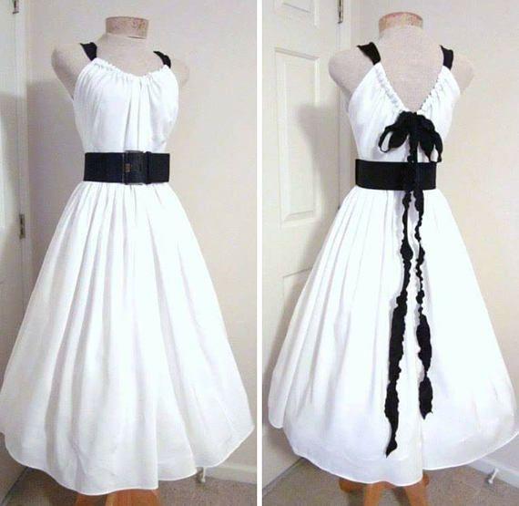 1950s Style Dress White Bridal Beach Halter Sundress Tea Length ...