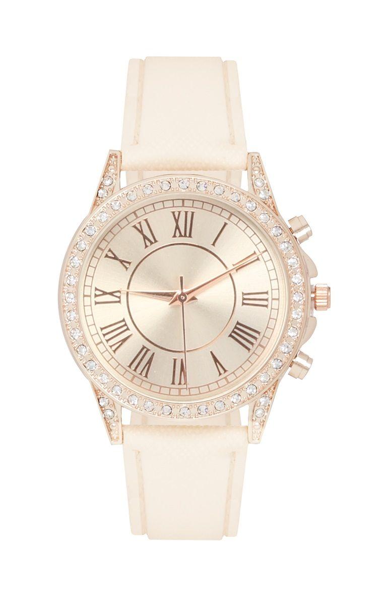 7ebed83aa2b White Diamanté Watch Moda Beleza