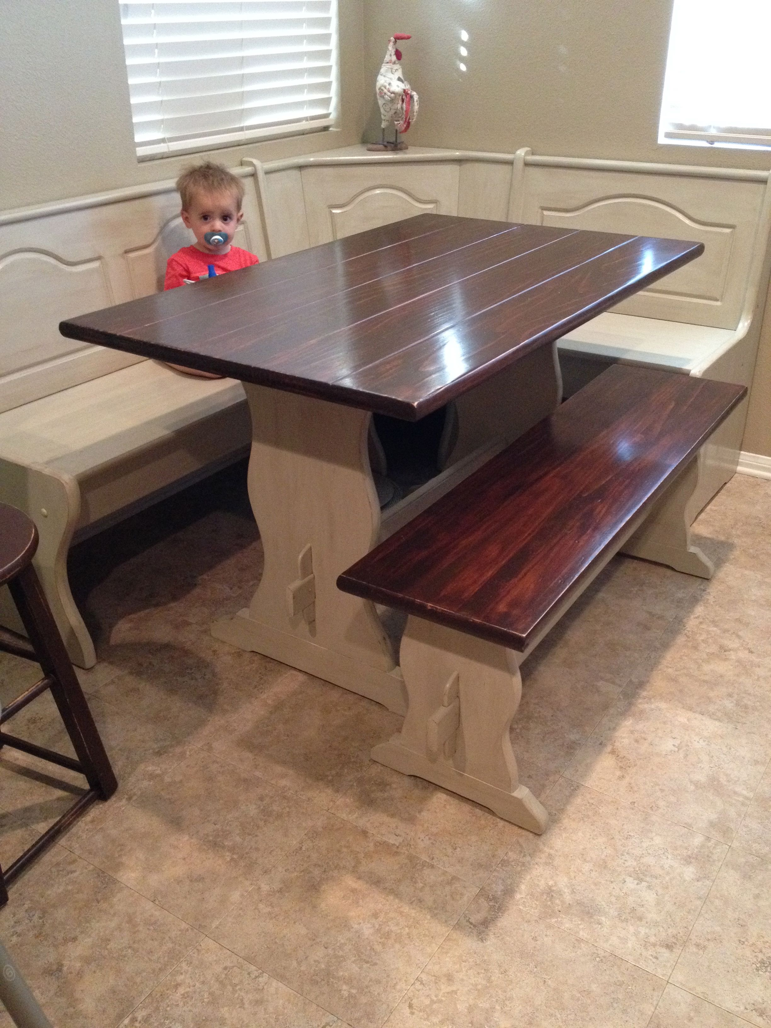 Diy painted stained kitchen table booth banquette nook for Kitchen banquette table