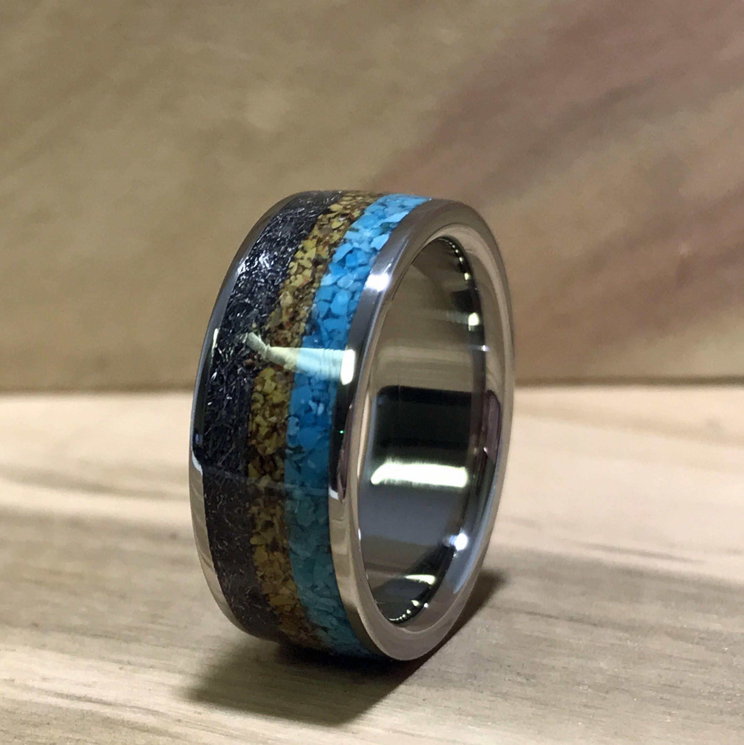 Titanium Ring, Turquoise Ring, Meteorite Ring, Dinosaur