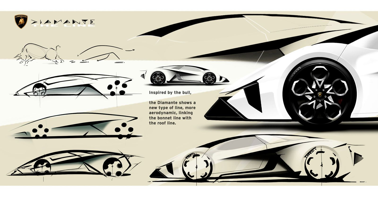 Lamborghini Diamante Concept Design Sketches Sketch Car Design