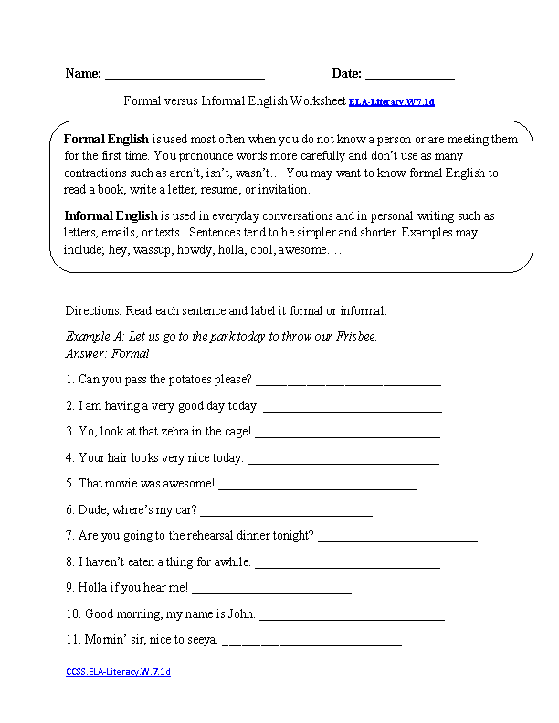 Formal vs. Informal Style ELA-Literacy.W.7.1d Writing Worksheet ...