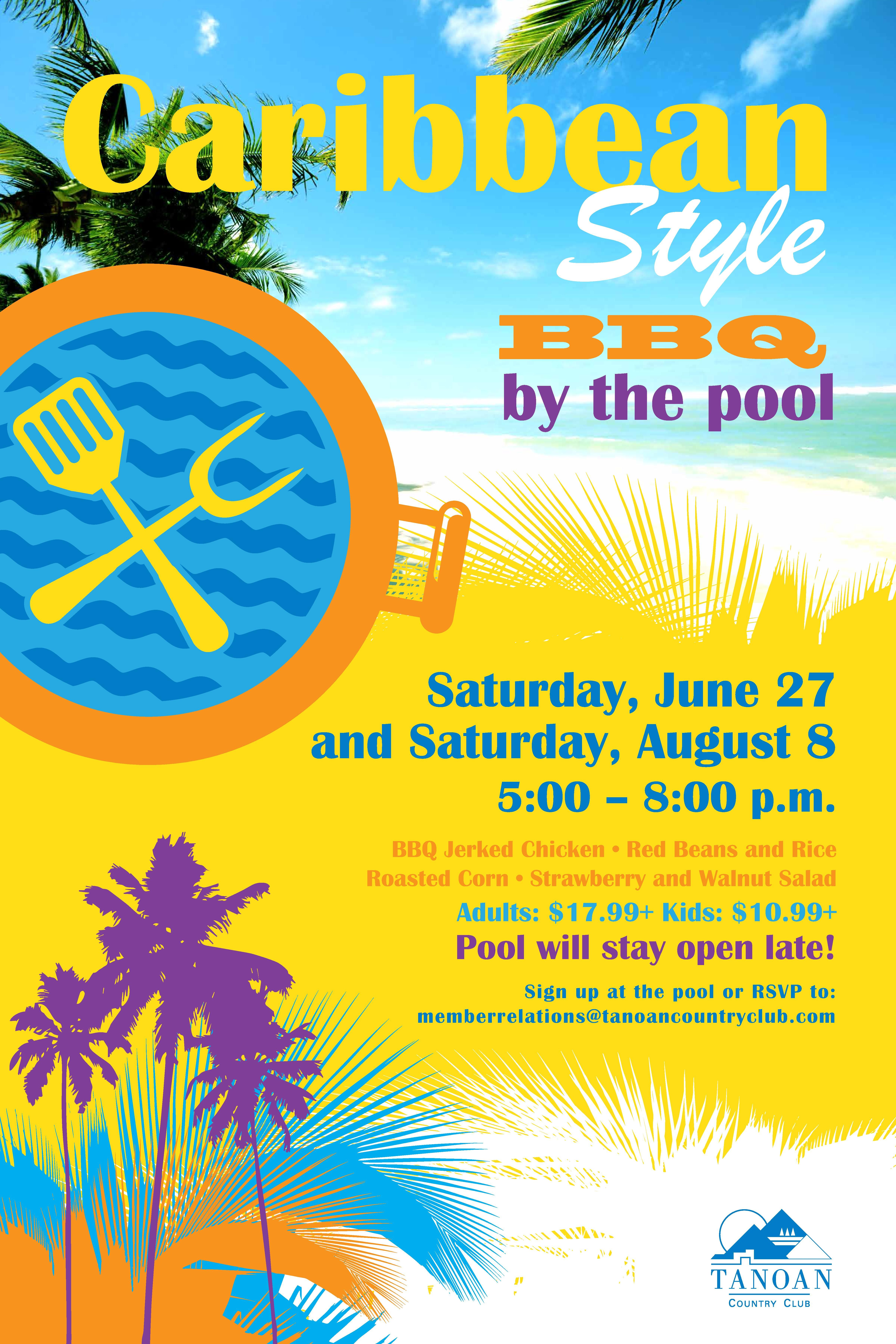 Caribbean Style Bbq By The Pool Flyer Poster Template  Pool