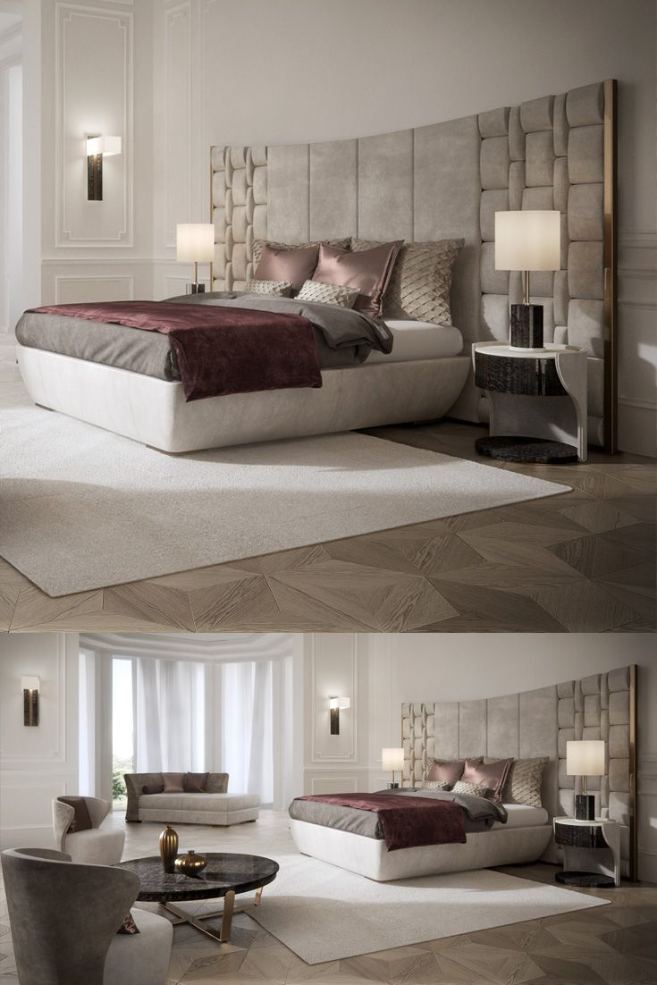 32 Stunning Luxury Master Bedroom Designs Photo Collection: Contemporary Italian Bed With Large Luxury Leather