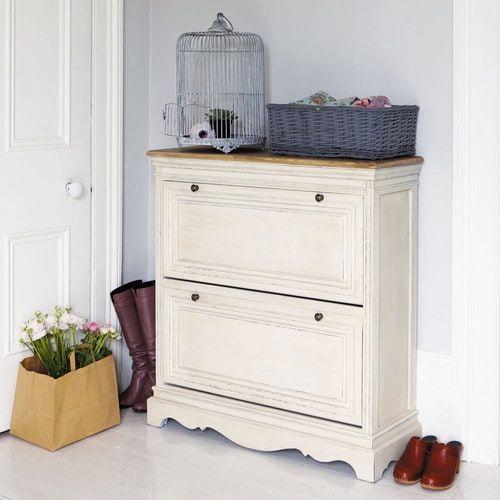 Meuble à chaussures en bois blanc L 93 cm maison meuble couloir