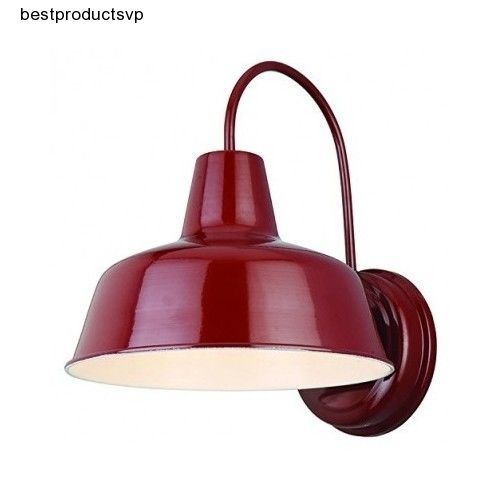 Outdoor Barn Light Sconce Fixture Industrial Vintage Metal Wall Mount Porch Red