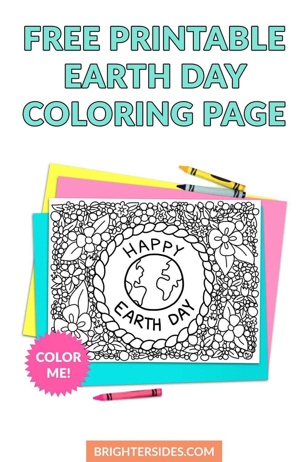 Free earth day coloring page printable earth day