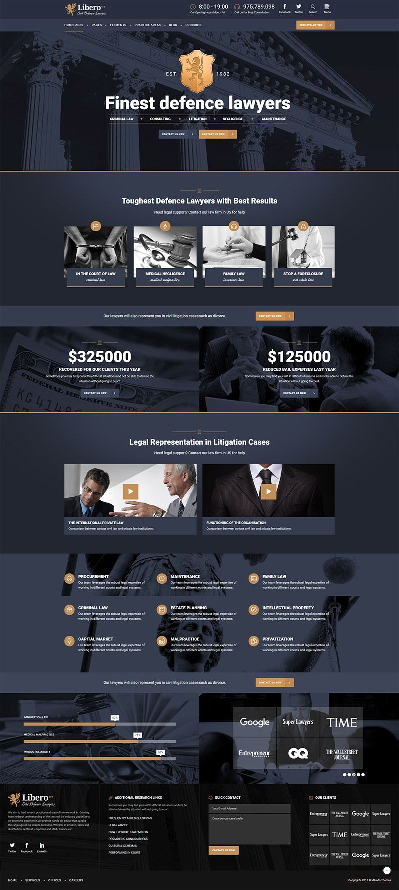Libero Lawyer And Law Firm Theme Lawyer Website Design Law Firm Website Design Law Firm Website