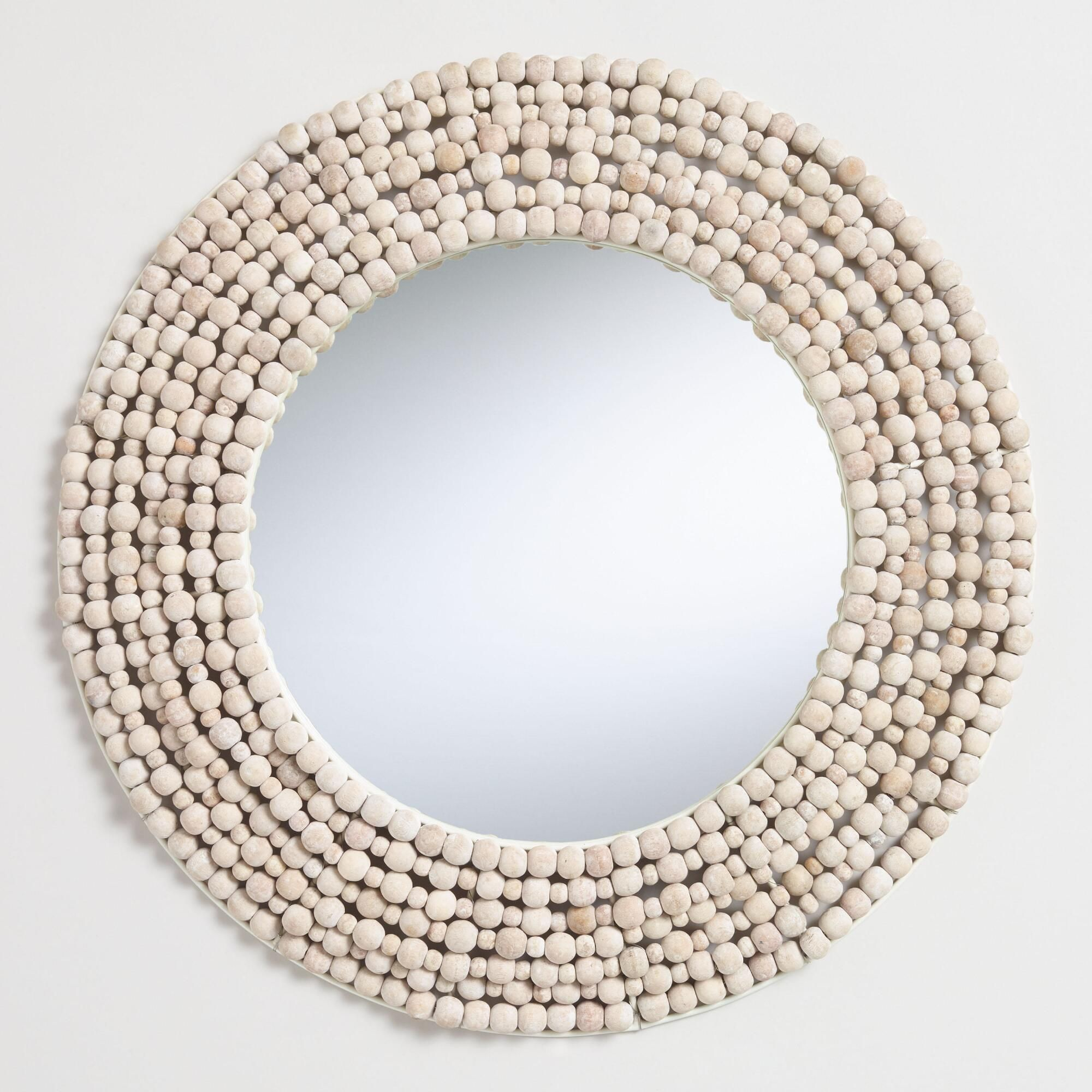 Round white wood bead wall mirror by world market in products
