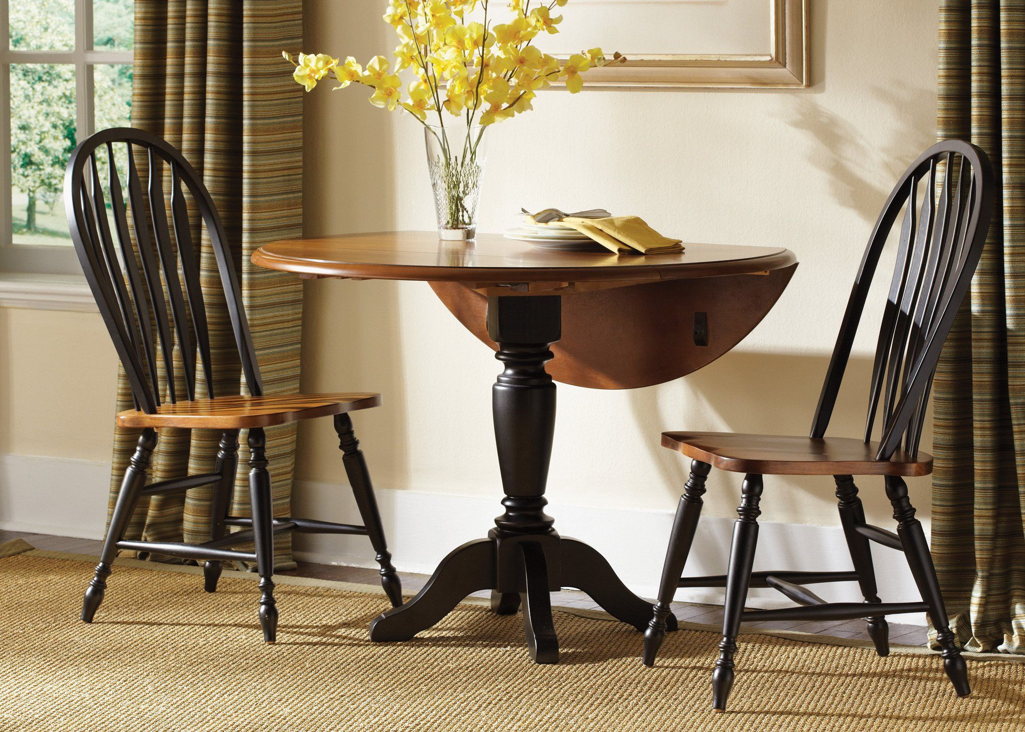 Liberty Furniture Low Country Black 3 Pc Drop Leaf Table Set With Windsor Chairs Lfi1759 Drop Leaf Table Dining Table Dining Table Chairs Round drop leaf dining tables