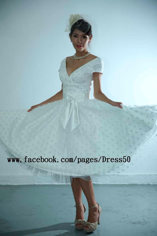 50s retro feel POLKA DOTS tulle deep V neckline fullest wedding ...