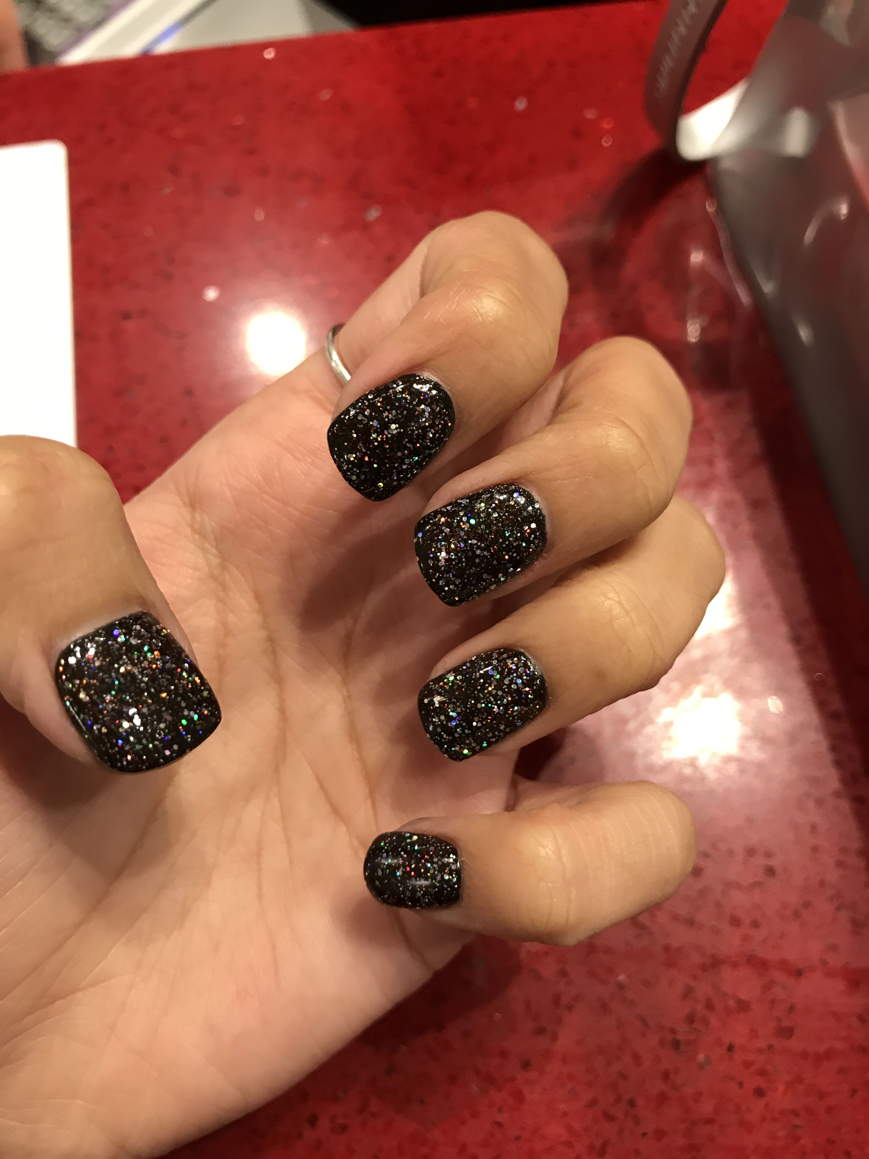 Black Glitter Sns Nails Perfect For Halloween Black Sparkle Nails Sns Nails Black Nails With Glitter