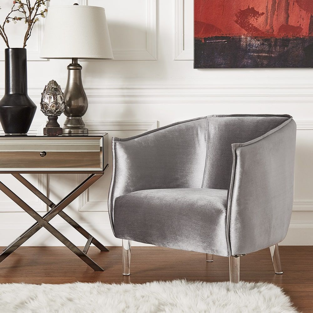 Vianne Velvet Curved Back Acrylic Leg Accent Chair by iNSPIRE Q Bold |  Overstock.com