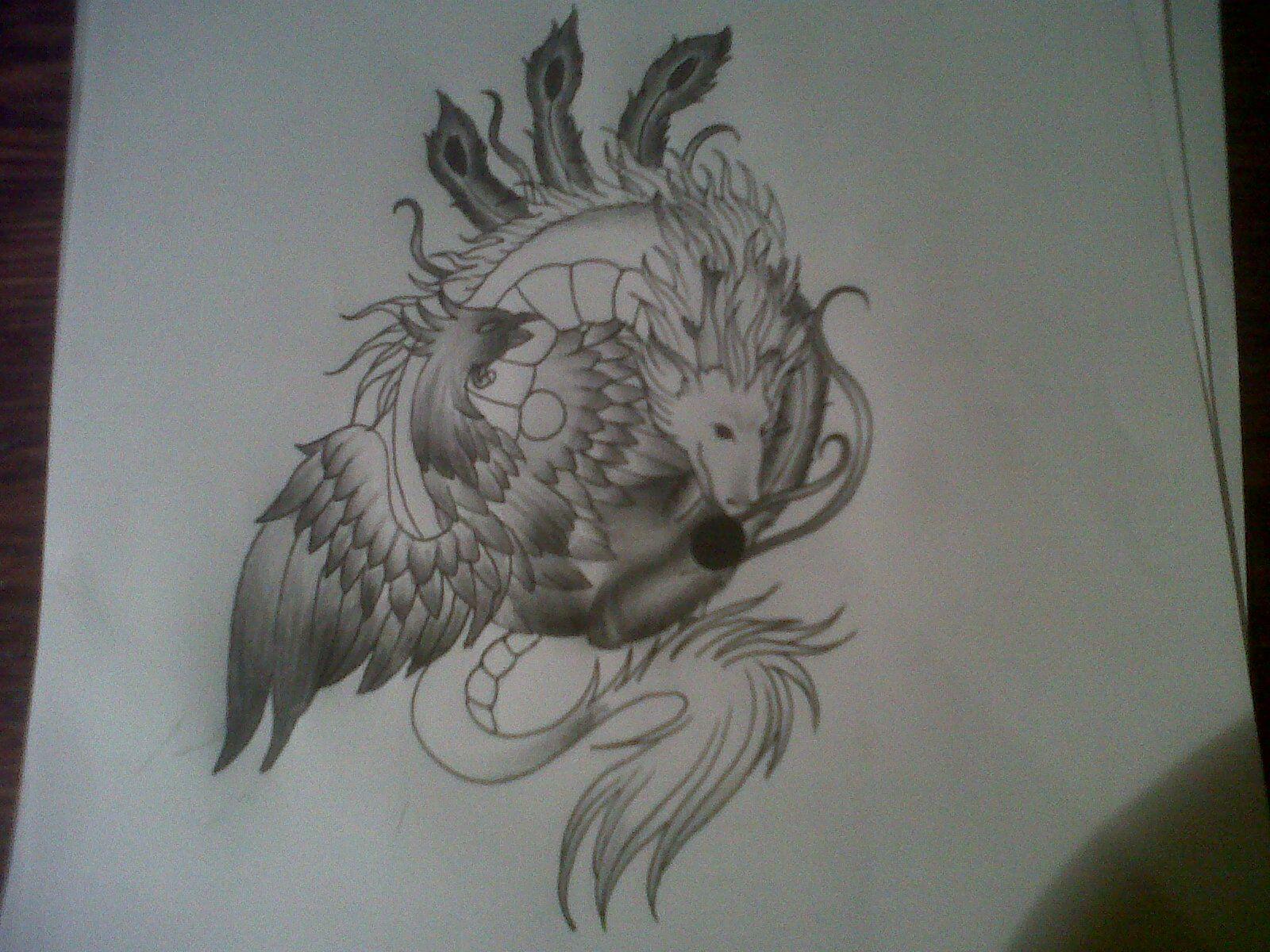 e8eb06e61 phoenix dragon ying yang tattoo design by tattoosuzette on deviantART