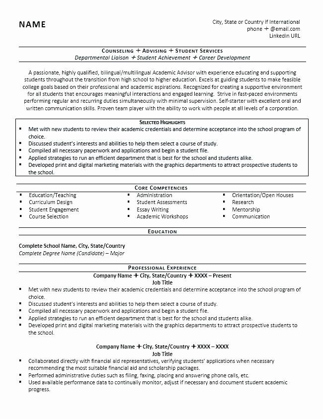 Financial Aid Advisor Resume New Student Advisor Sample