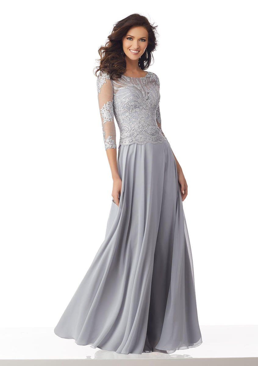 7ee57cb9b45 Check out the deal on MGNY by Morilee 71813 Metallic Lace Flowing Gown at French  Novelty