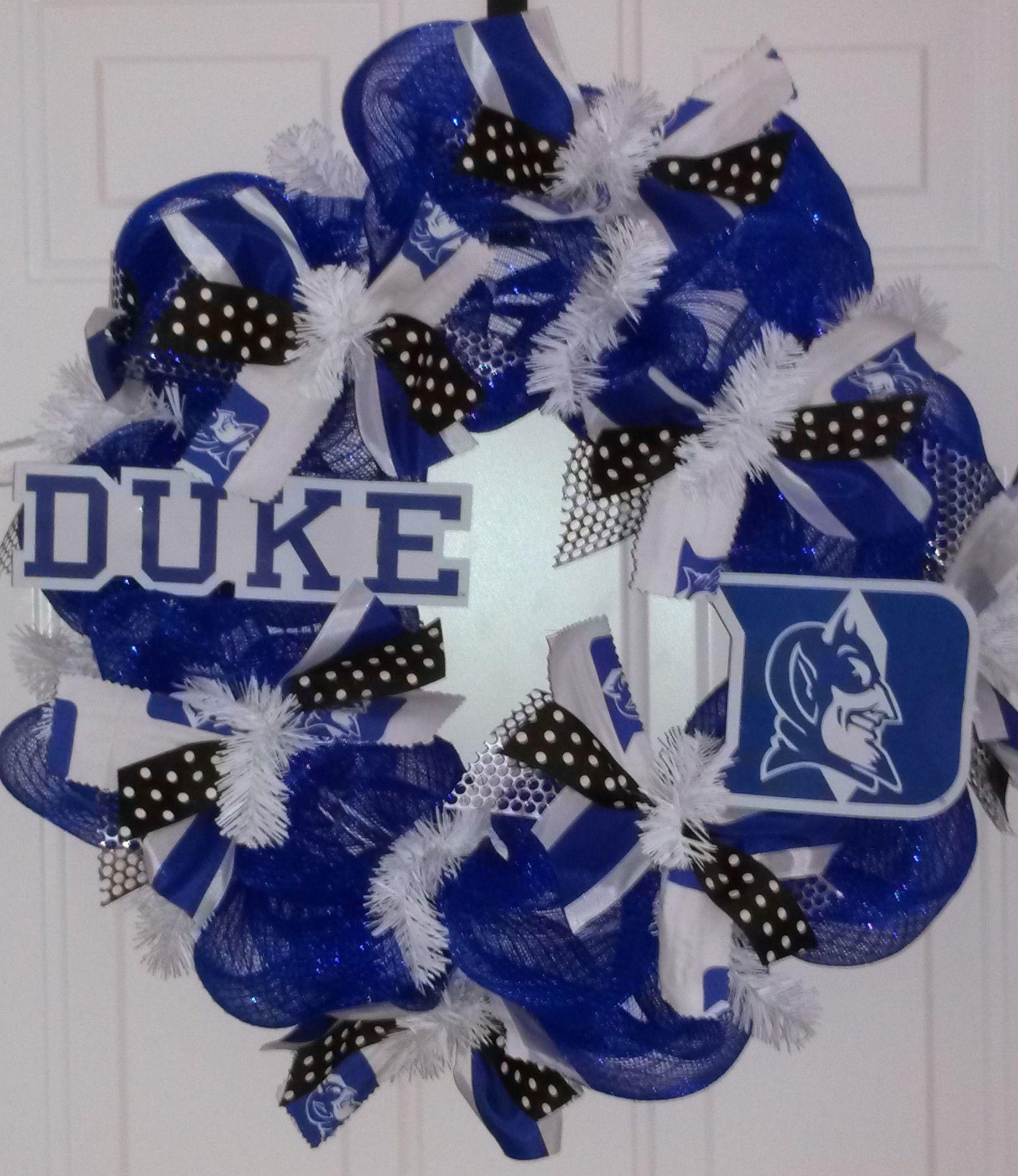 Duke Blue Devils! Reel Sassy Wreaths, handmade by Sonya Snyder, sbslas@hotmail.com for more info!
