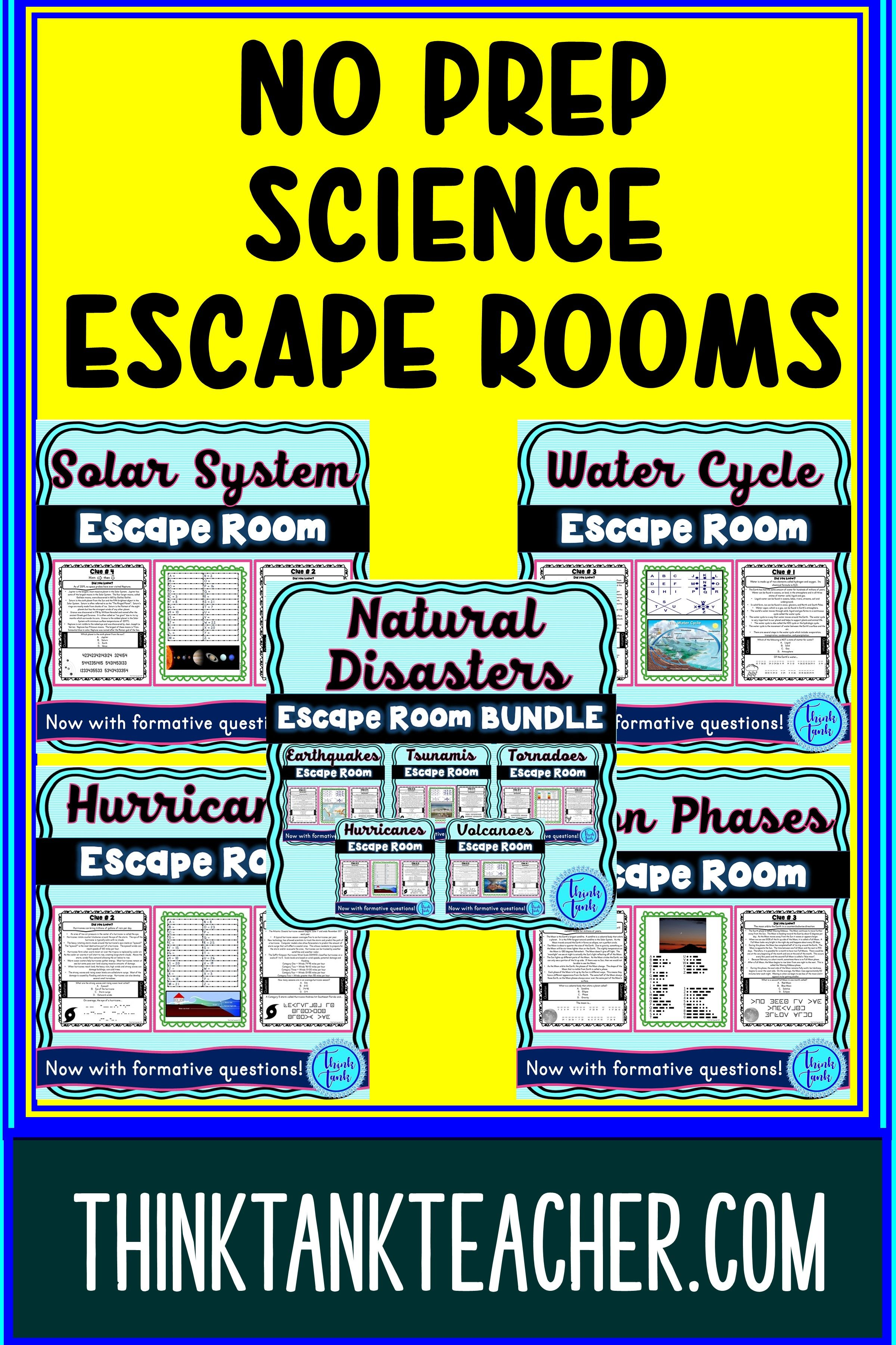 No Prep Science Escape Rooms for the classroom. Perfect activities for busy science teachers! Natural disasters, solar system, water cycle and more! Fun for grades 4-8. #scienceclassroom