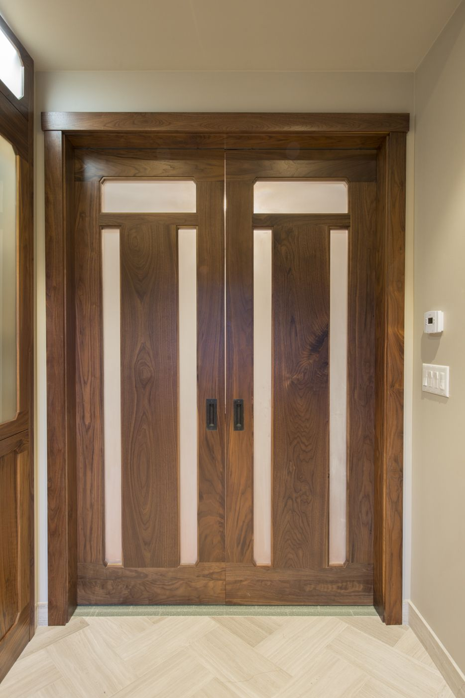 Custom Walnut And Sand Blasted Privacy Glass Pocket Doors Hafele Door Hardware Matching Lighted Linen Closet To Left Bath