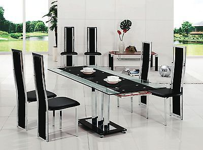 Pavia Extending Gl Chrome Dining Room Table 8 Chairs Set Furniture 601
