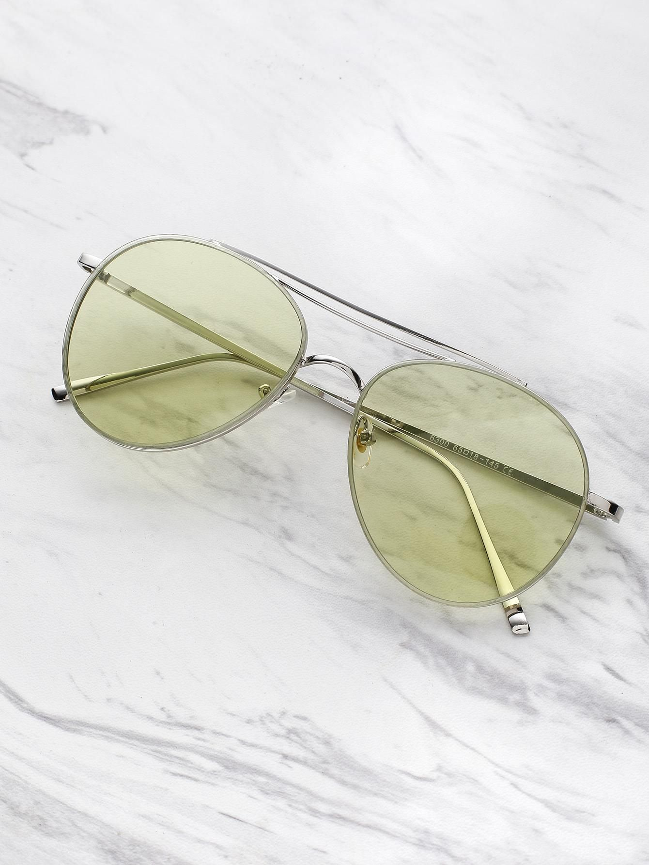 ROMWE   ROMWE Contrast Top Bar Aviator Sunglasses   AdoreWe.com